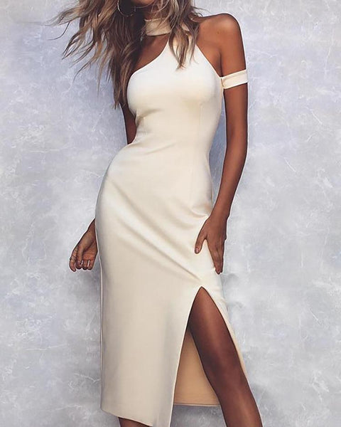 Halter Cold Shoulder Slit Bodycon Dress
