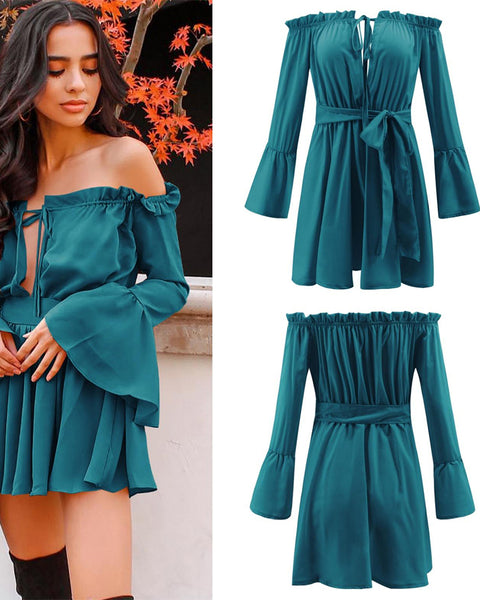 Off-Shoulder V-neck long-sleeved mini dress