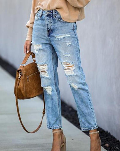 High Waist Ripped Jeans