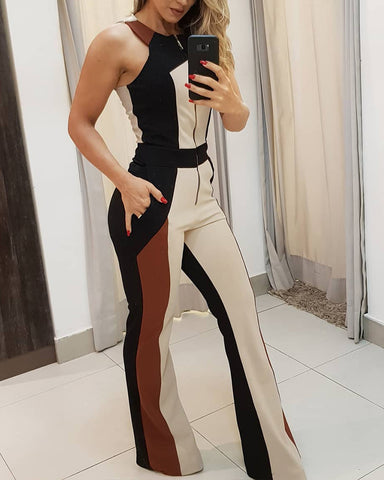 Colorblock Zipper Up Sleeveless Jumpsuit