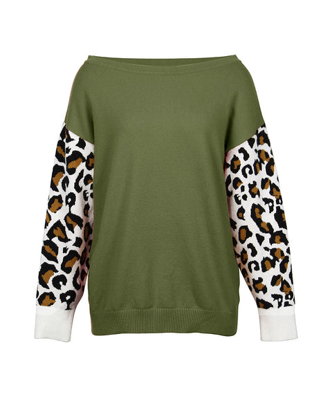 Cheetah Print Colorblock Long Sleeve Casual Sweater
