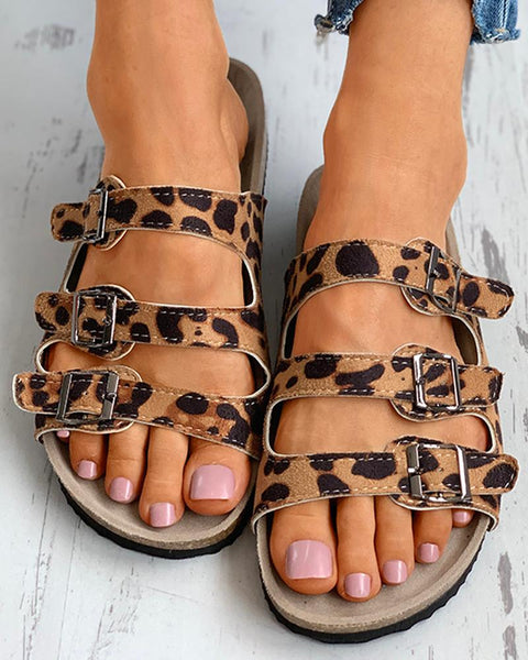 Open Toe Cheetah Print Buckled Flat Sandals