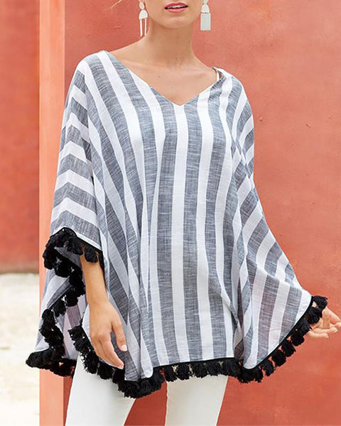 Striped V-neck Bat Sleeve Irregular Blouse