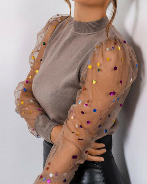 Colorful Sequin Mesh Sleeve Top