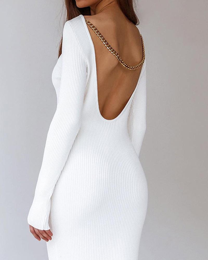 Solid Long Sleeve Chain Back Skinny Dresses