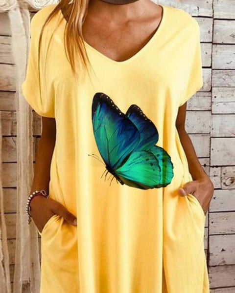 Butterfly Print Short Sleeve Midi Dress