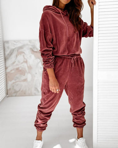 Solid Velvet Long Sleeve Loose Hoodies Sweatshirts Suit Sets