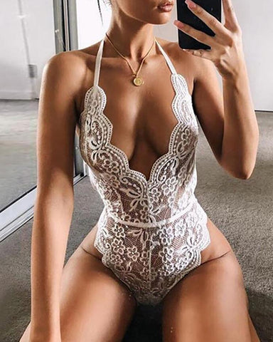 Scalloped  Lace Trim Sheer Teddy Bodysuit