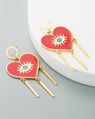 Heart & Eye Drop Earrings