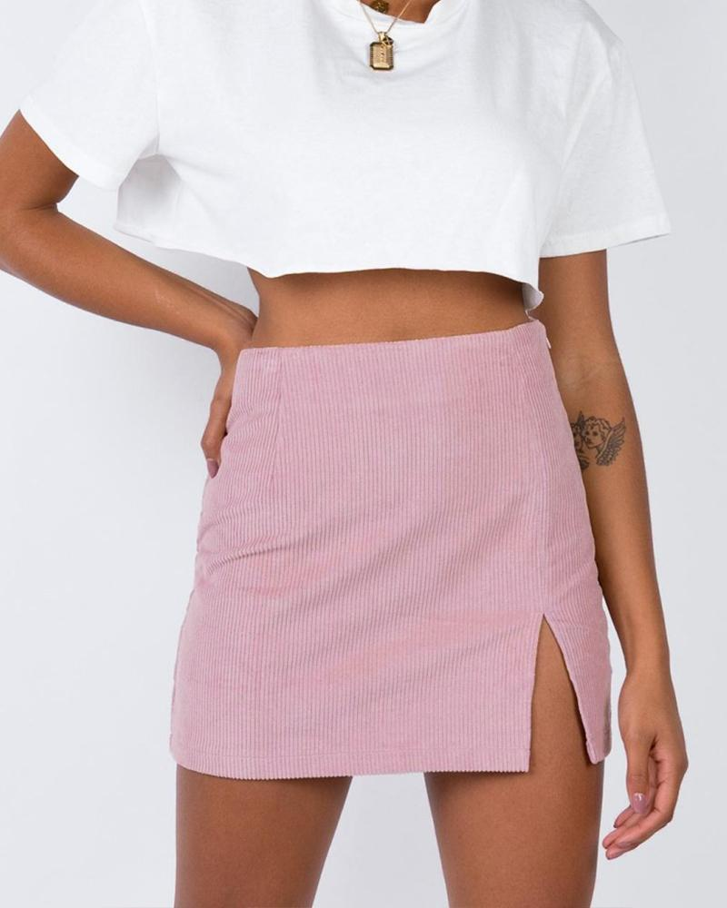 High-waist Corduroy Mini Skirt