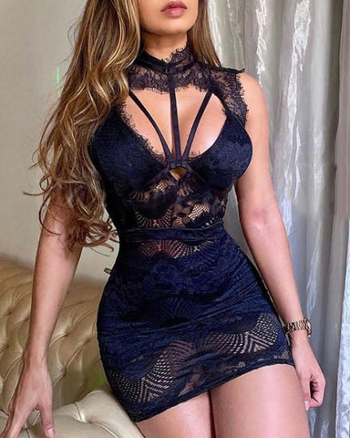 Eyelash Lace Cutout Sleeveless Bodycon Dress