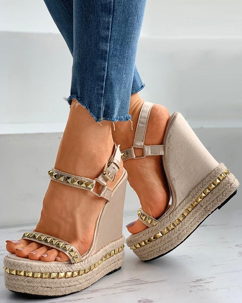 Rivet Open Toe Espadrille Wedge Sandals