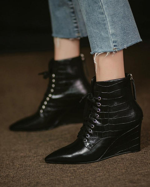 Solid Pointed Lace-up Wedge Ankle Boots