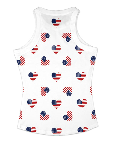 Lip Heart Flag Tie Dye Print Casual Tank Top