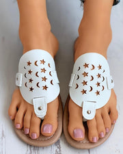 Toe Post Star Moon Pattern Hollow Out Flat Sandals