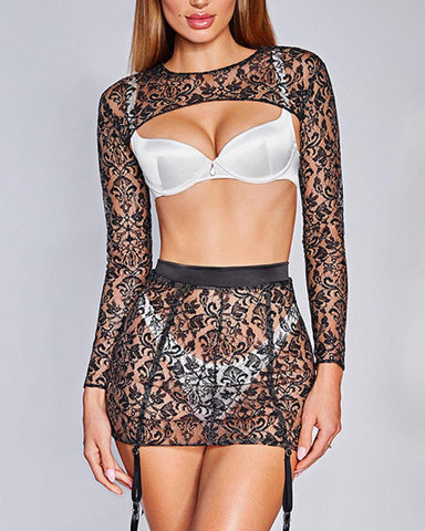 Solid Cut-out Lace Long Sleeve Blosue Underwear Suit Sets