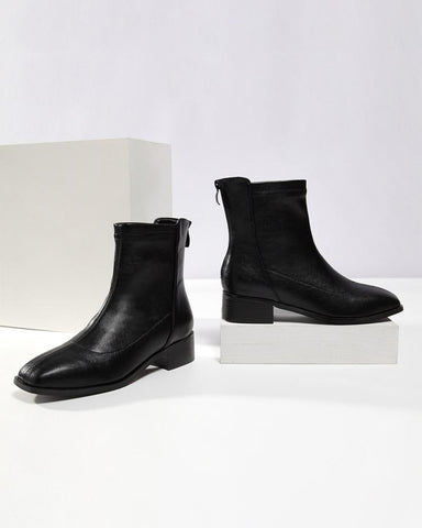 Solid Square-toe Low Heel Ankle Boots