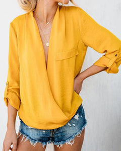 Solid Color V-Neck Casual Top