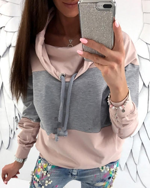 Colorblock Drawstring Detail Heap Neck Sweatshirt