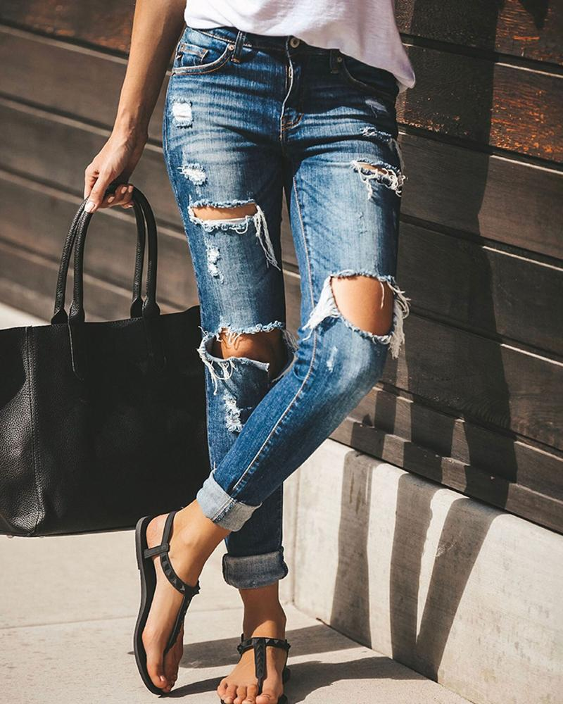 High Waist Frayed Ripped Cut Out Denim Pants