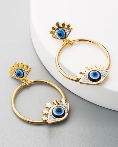 Blue Eye Drop Earrings