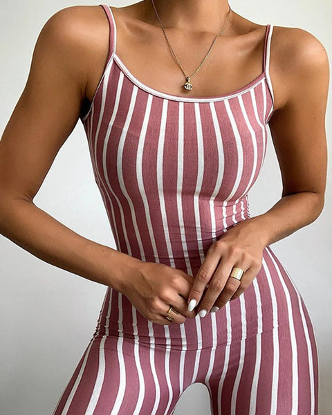 Striped Slim Fit Cami Romper