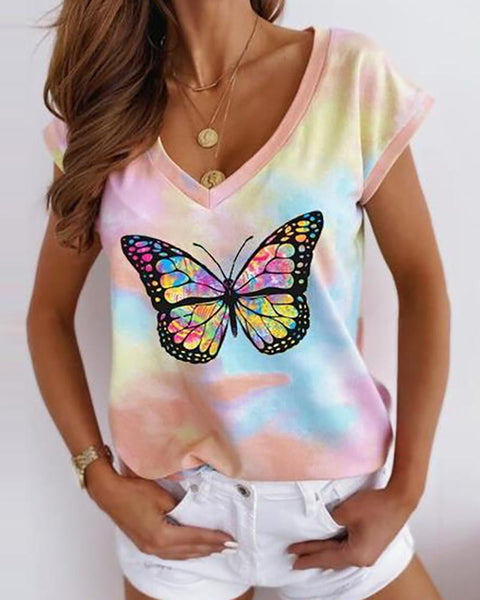 Butterfly Tie Dye Print Short Sleeve Casual T-shirt
