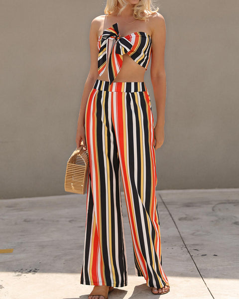 Striped Bowknot Tube Top&Wide Pants Set