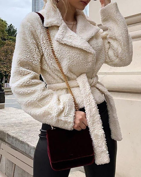 Solid Notched Collar Long Sleeve Fur Fluffy Coat