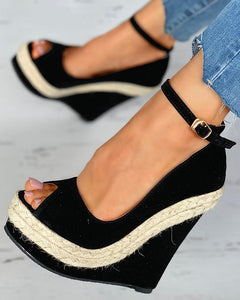 Peep Toe Platform Wedge Espadrille Sandals