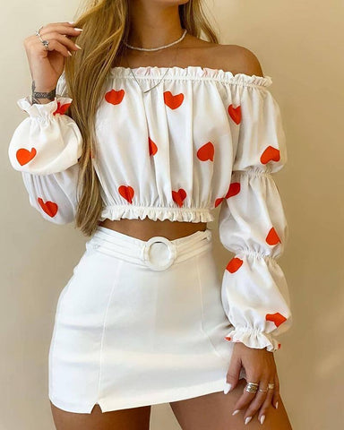 Heart Printing Ruffle Long Sleeve Suit Sets