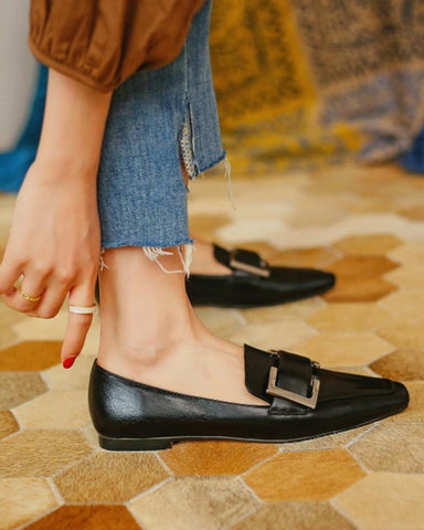 Square-toe Solid Color Shallow Mouth Loafers