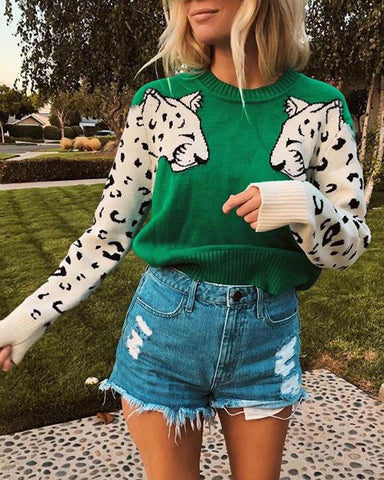Leopard Pattern Long Sleeve Top