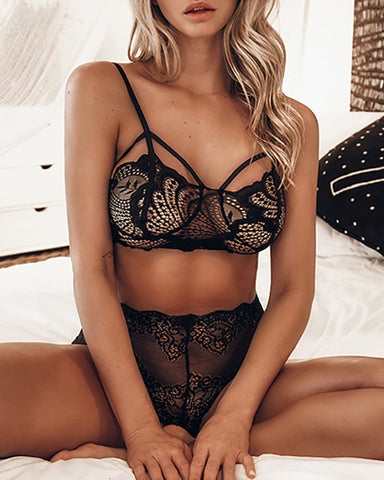 Crochet Lace Sheer Mesh Cutout Bra Set