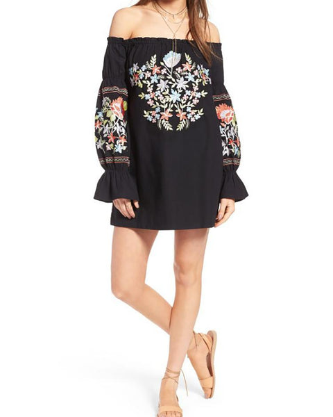 Ethnic Shirring Off Shoulder Floral Pattern Casual Mini Dress
