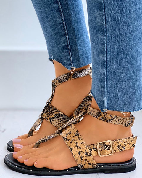 Toe Post Ankle Strap Buckled Flat Sandals