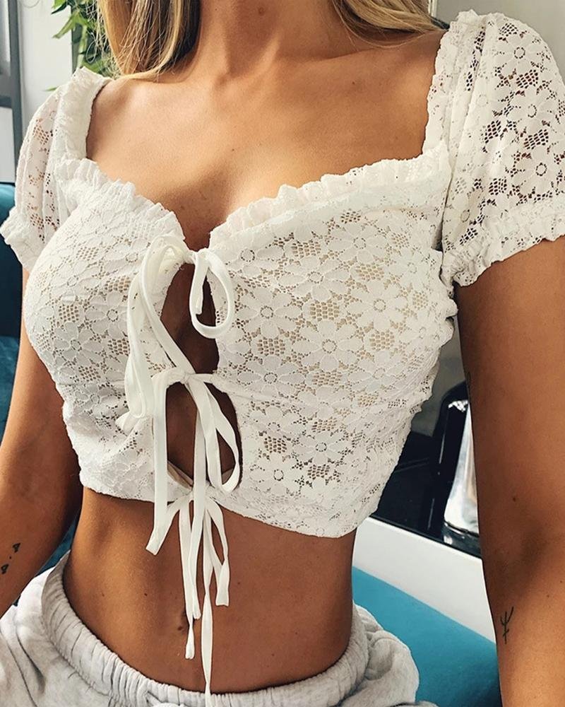 Tie Front Lace Detail Crop Top