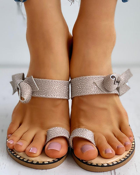 Studded Bowknot Pattern Toe Ring Flat Sandals