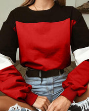 Round Neck Contrast Colorblocks Sweatshirt