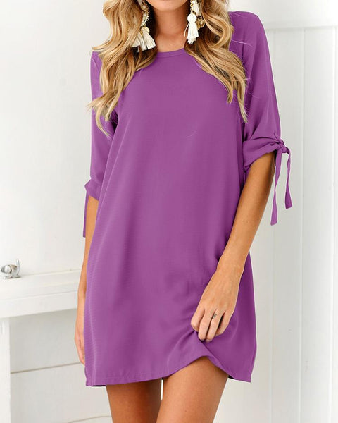 Fashion Solid Tied Sleeve Tunic Dress