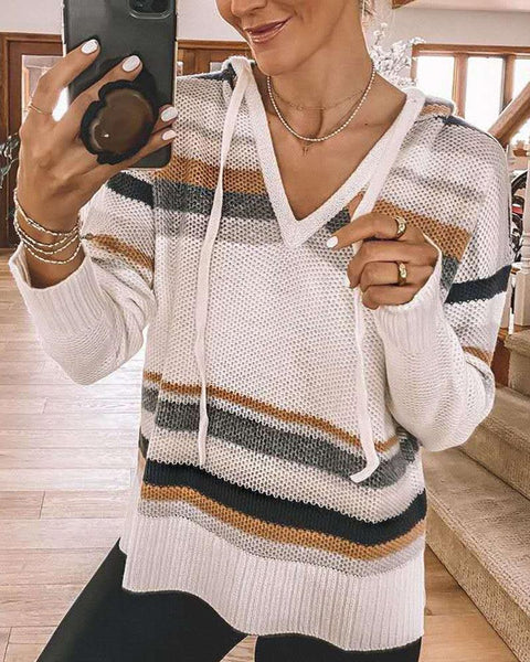Hooded Stitching Long Sleeve Sweater
