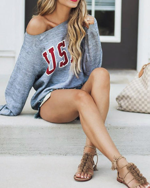 One Shoulder Letter Print Casual Sweatshirt