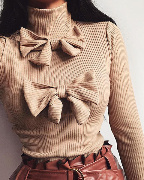 High Neck Bow Tie Rib Sweater