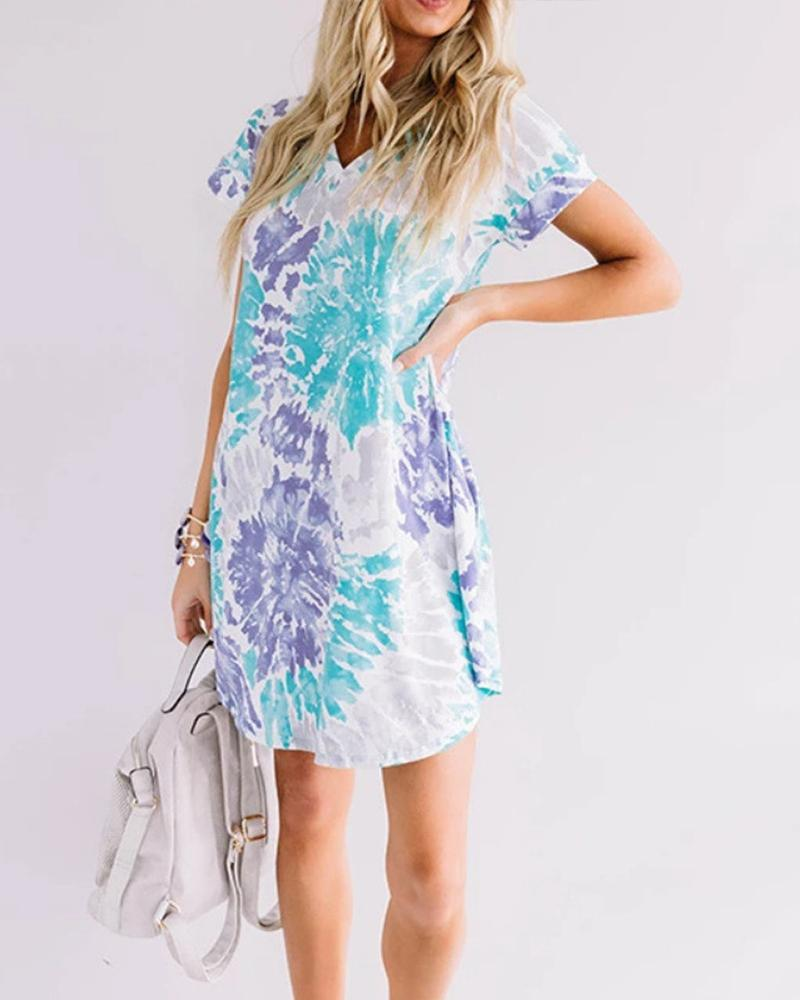 Tie Dye V Neck Mini Dress