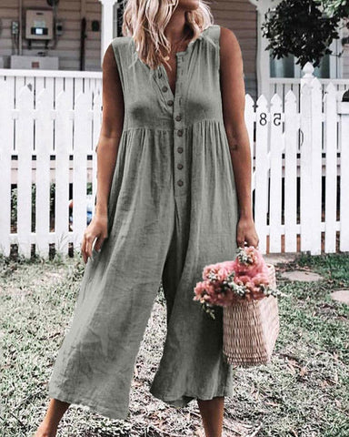 Sleeveless V Neck Wide Leg Jumpsuit