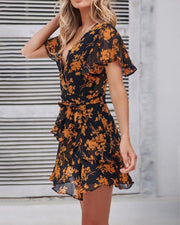 Flying Sleeves Floral Slim Print Sexy Jumpsuit Skirt