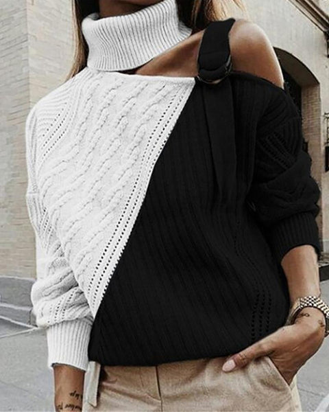 One Shoulder Colorblock Cut Out Knit Sweater