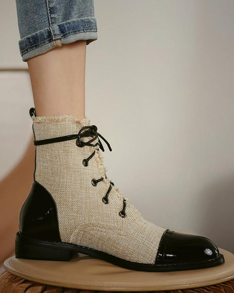 Round-toe Color Block Lace-up Martin Boots