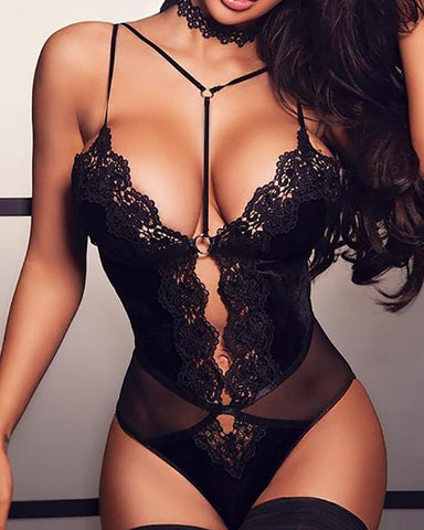Scalloped Trim Lace Shee Mesh Teddies