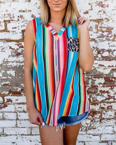 Colorblock Striped Sleeveless Blouse Top
